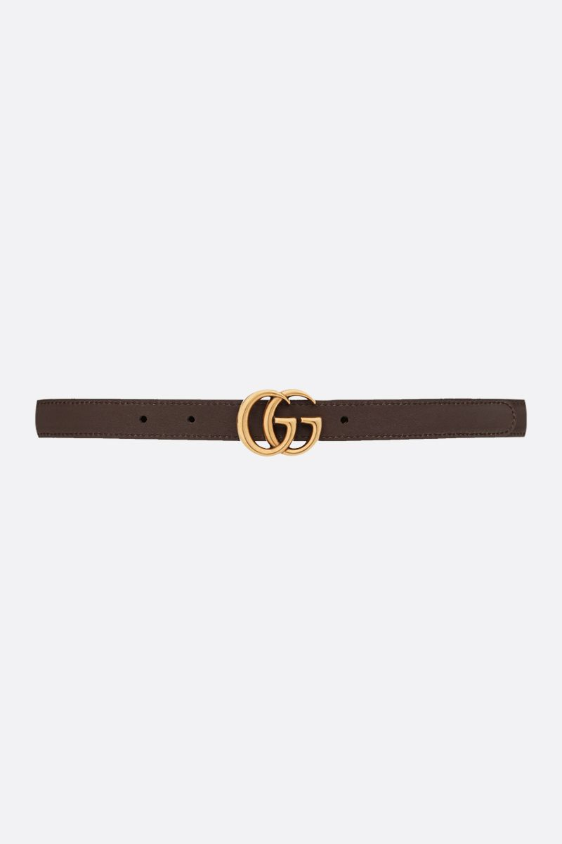 GUCCI: GG Marmont reversible thin belt Color Brown_2