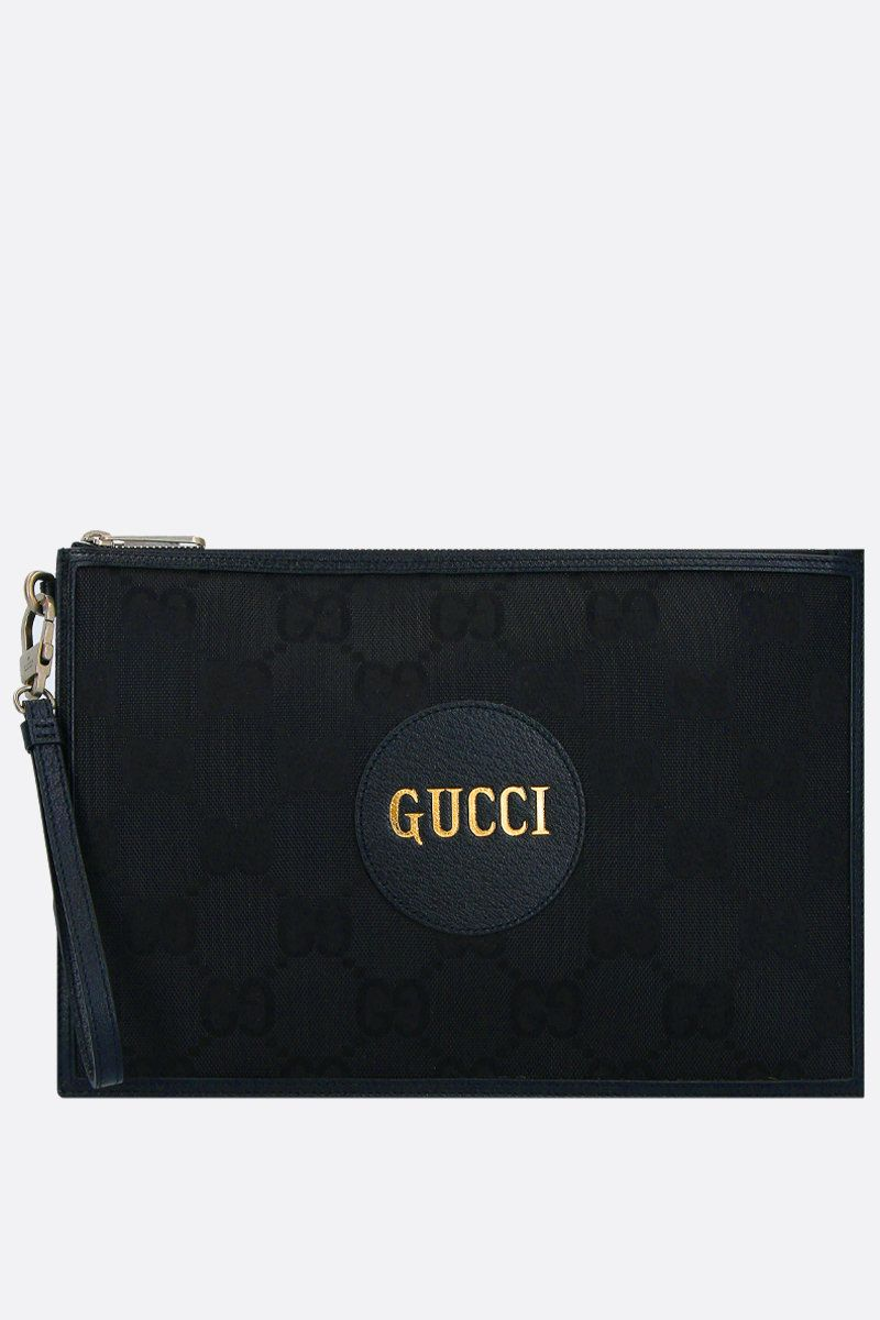 GUCCI: Gucci of the Grid pouch in ECONYL® Color Black_1