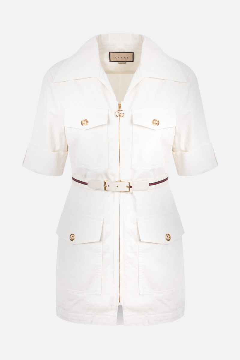 GUCCI: short-sleeved full-zip cotton jacket Color White_1