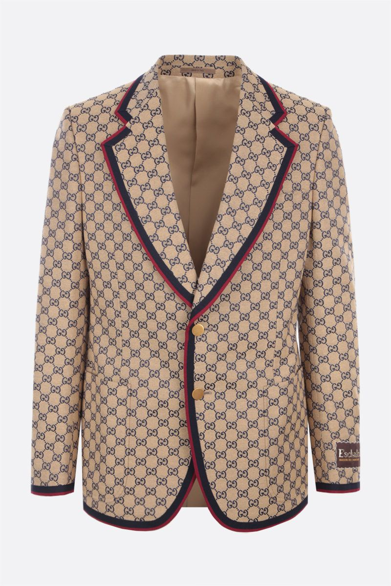 GUCCI: GG canvas single-breasted jacket Color Yellow_1