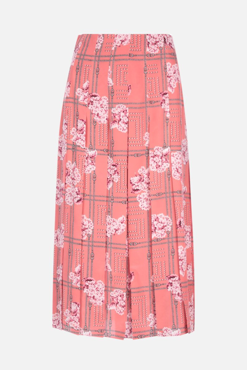 GUCCI: floral print pleated silk skirt Color Pink_1