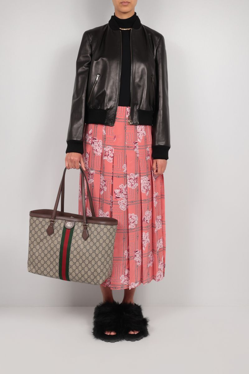 GUCCI: floral print pleated silk skirt Color Pink_2