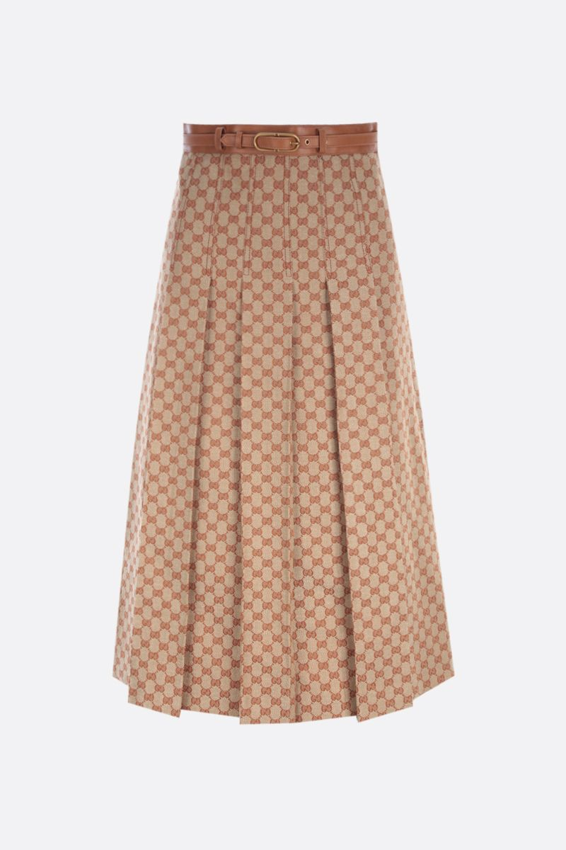 GUCCI: GG linen canvas pleated skirt Color Neutral_1