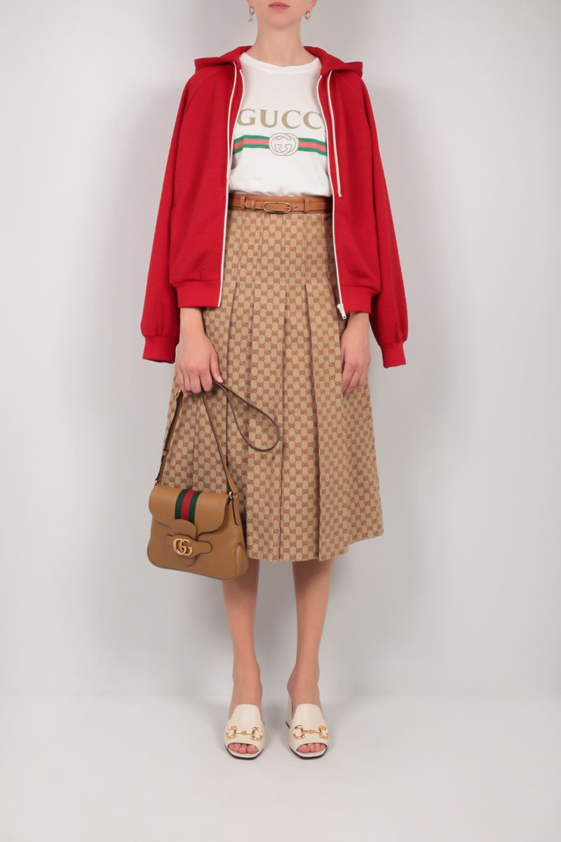 GUCCI: GG linen canvas pleated skirt Color Neutral_2