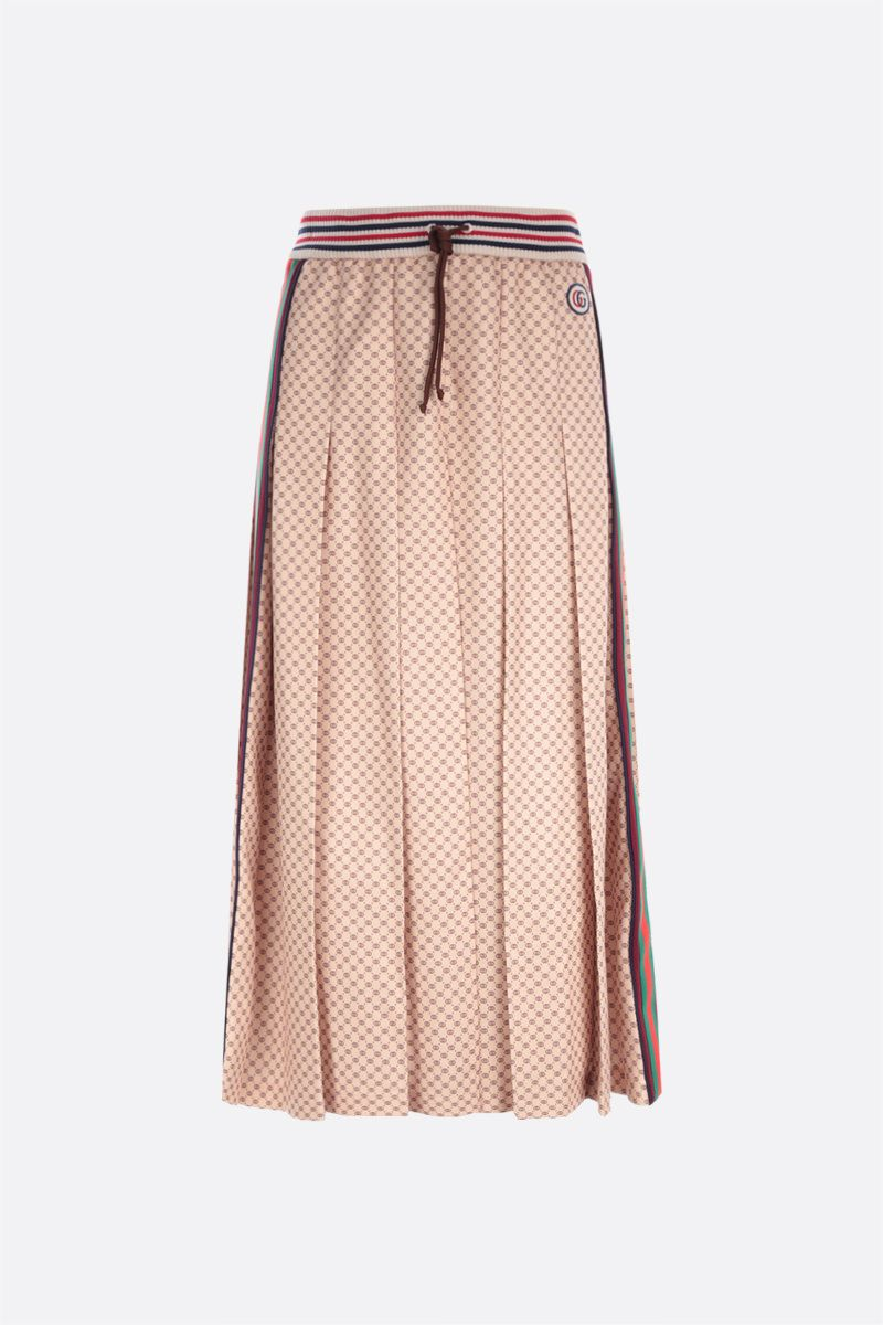 GUCCI: GG logo print pleated jersey skirt Color Neutral_1
