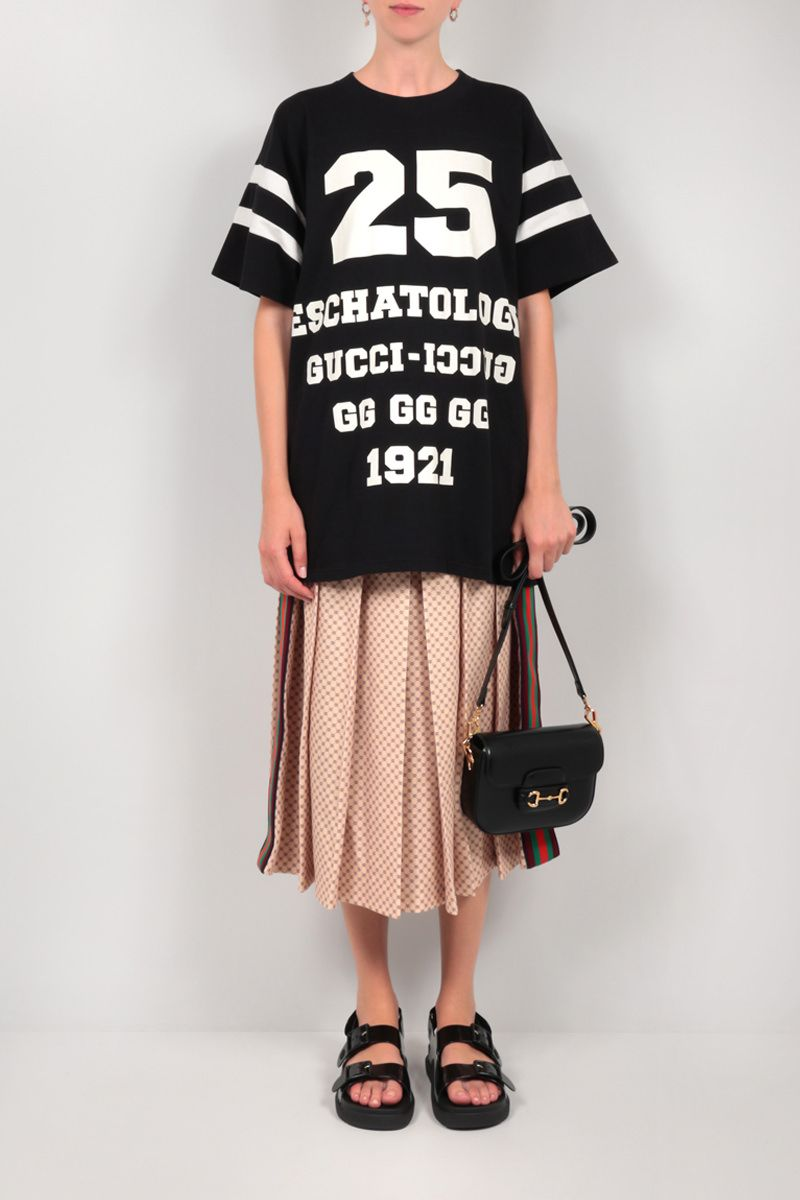 GUCCI: GG logo print pleated jersey skirt Color Neutral_2