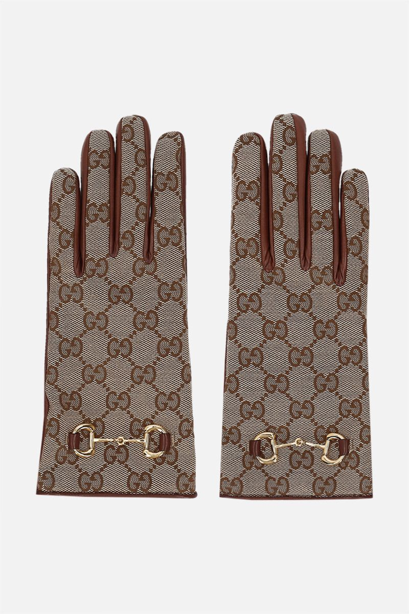 GUCCI: Horsebit-detailed GG canvas and nappa gloves Color Brown_1