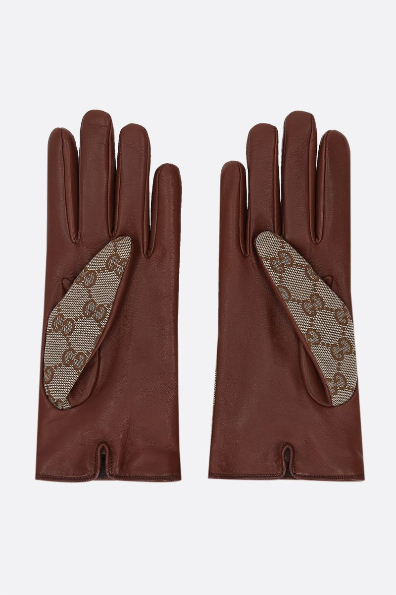GUCCI: Horsebit-detailed GG canvas and nappa gloves Color Brown_2