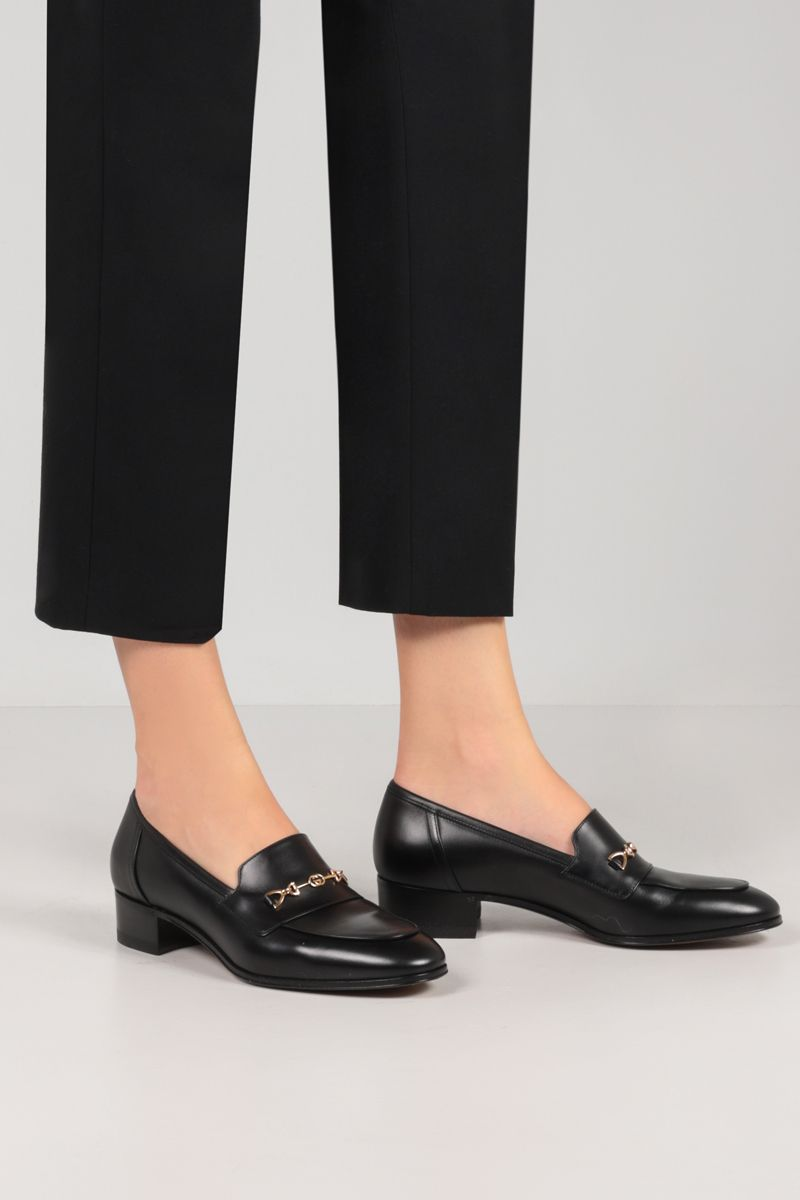 GUCCI: Interlocking G Horsebit-detailed smooth leather loafers Color Black_2