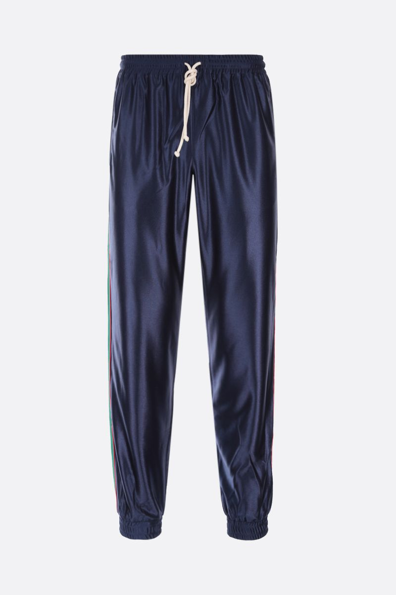 GUCCI: Web-detailed shiny jersey joggers Color Blue_1
