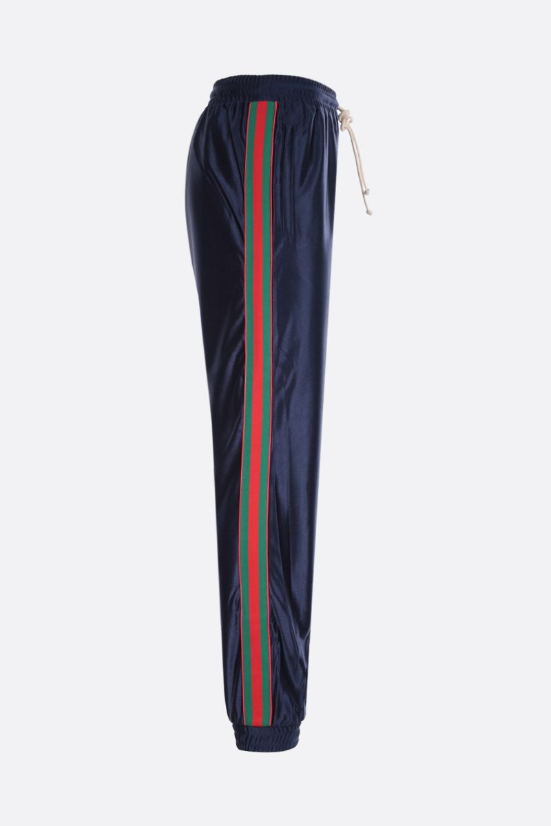 GUCCI: Web-detailed shiny jersey joggers Color Blue_2