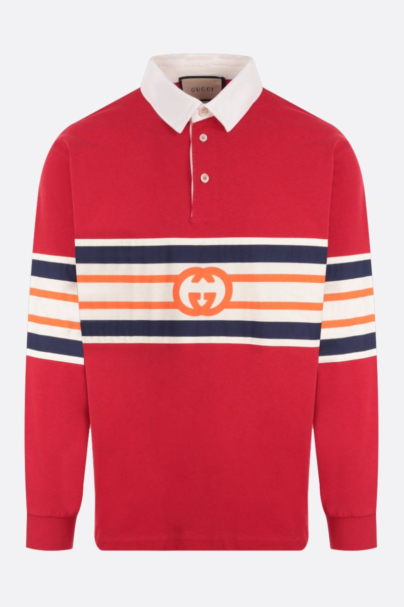 GUCCI: oversize jersey polo shirt with Interlocking G Color Red_1