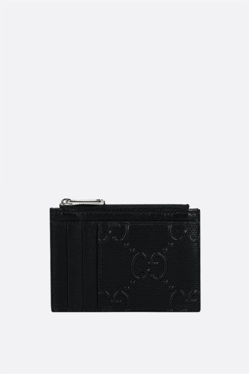 GUCCI: GG embossed leather zipped card case Color Black_1