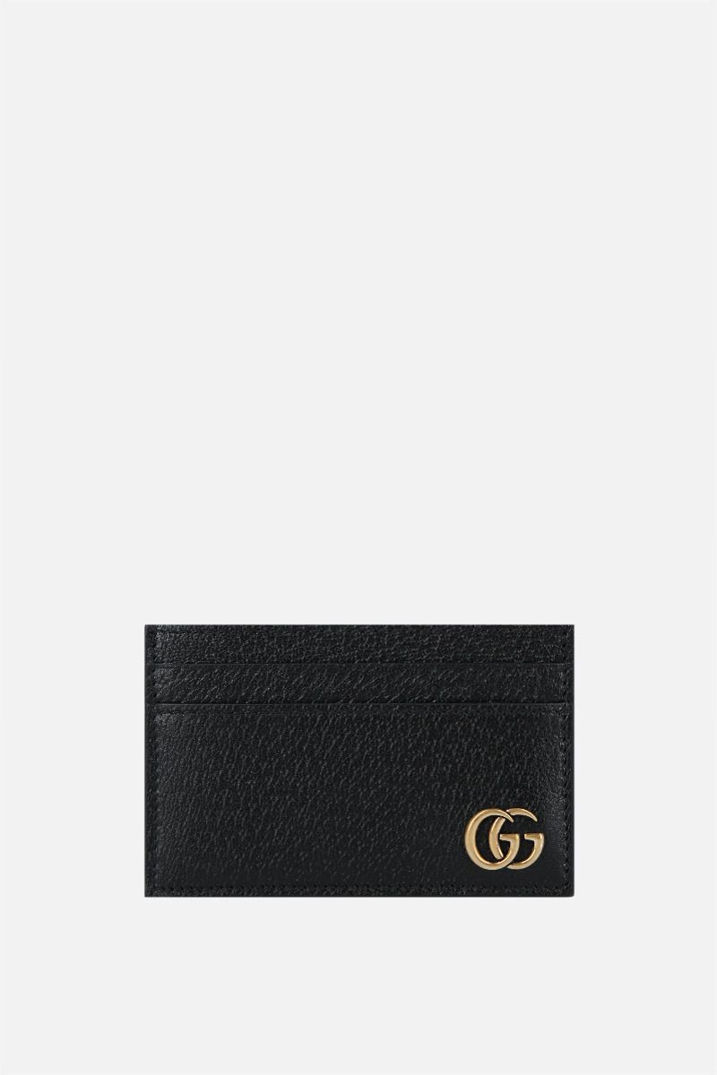 GUCCI: GG Marmont grainy leather card case Color Black_1