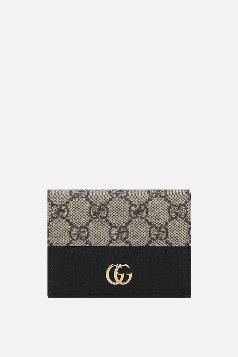 GUCCI: GG Marmont card case in GG Supreme coated canvas and grainy leather Color Black_1