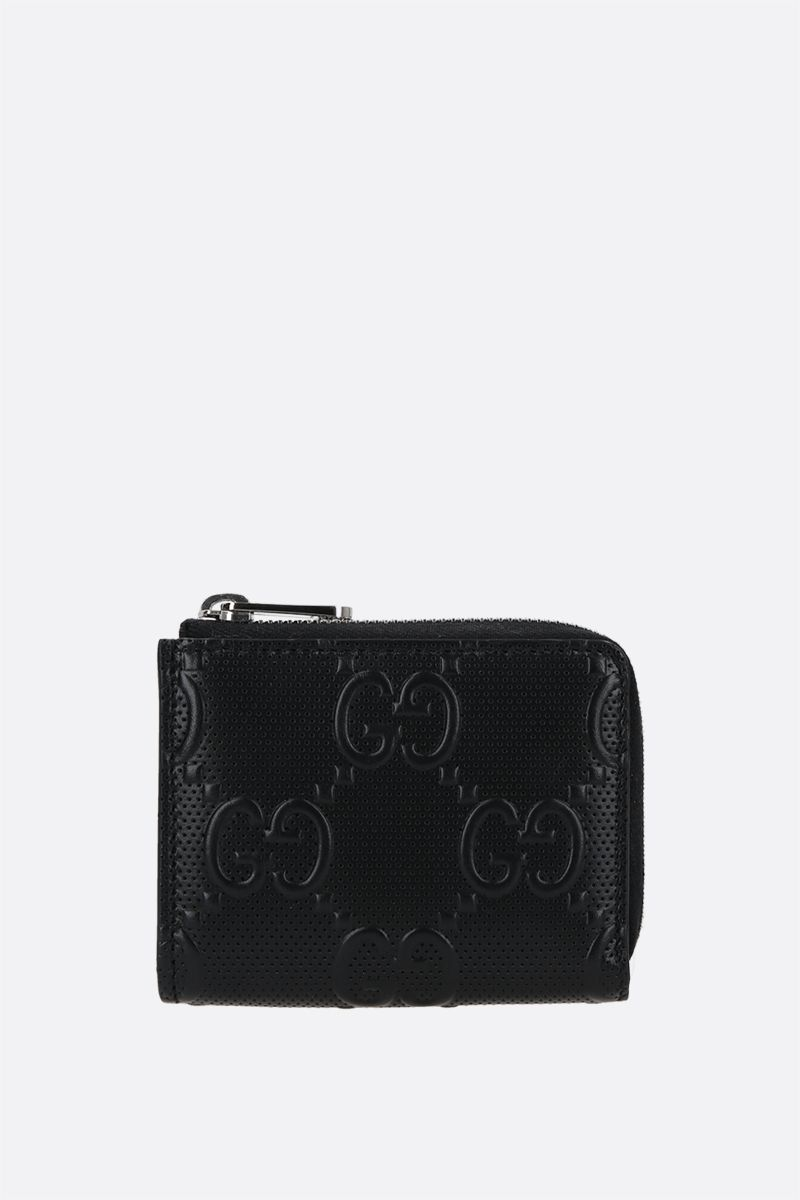 GUCCI: GG embossed leather half-zip wallet Color Black_1