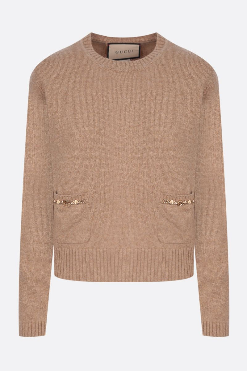GUCCI: Double G-detailed cashmere pullover Color Brown_1