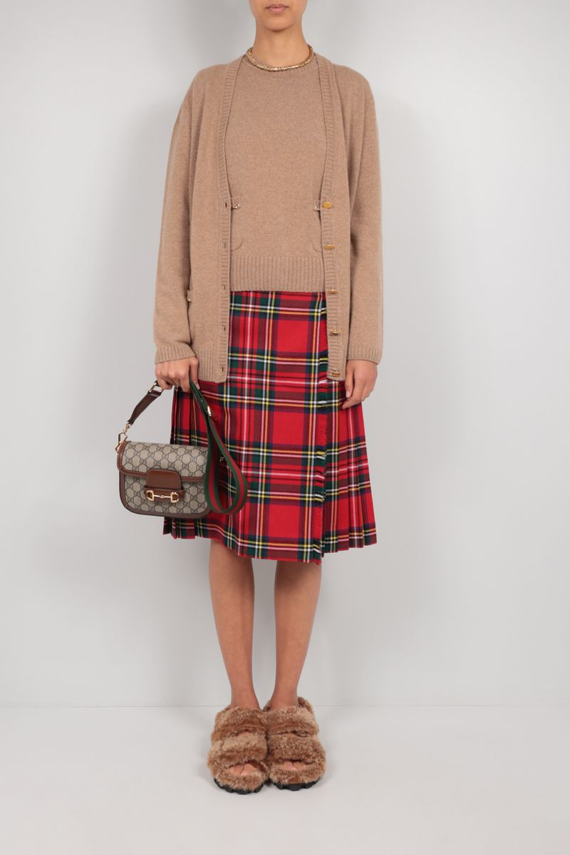 GUCCI: Double G-detailed cashmere pullover Color Brown_2
