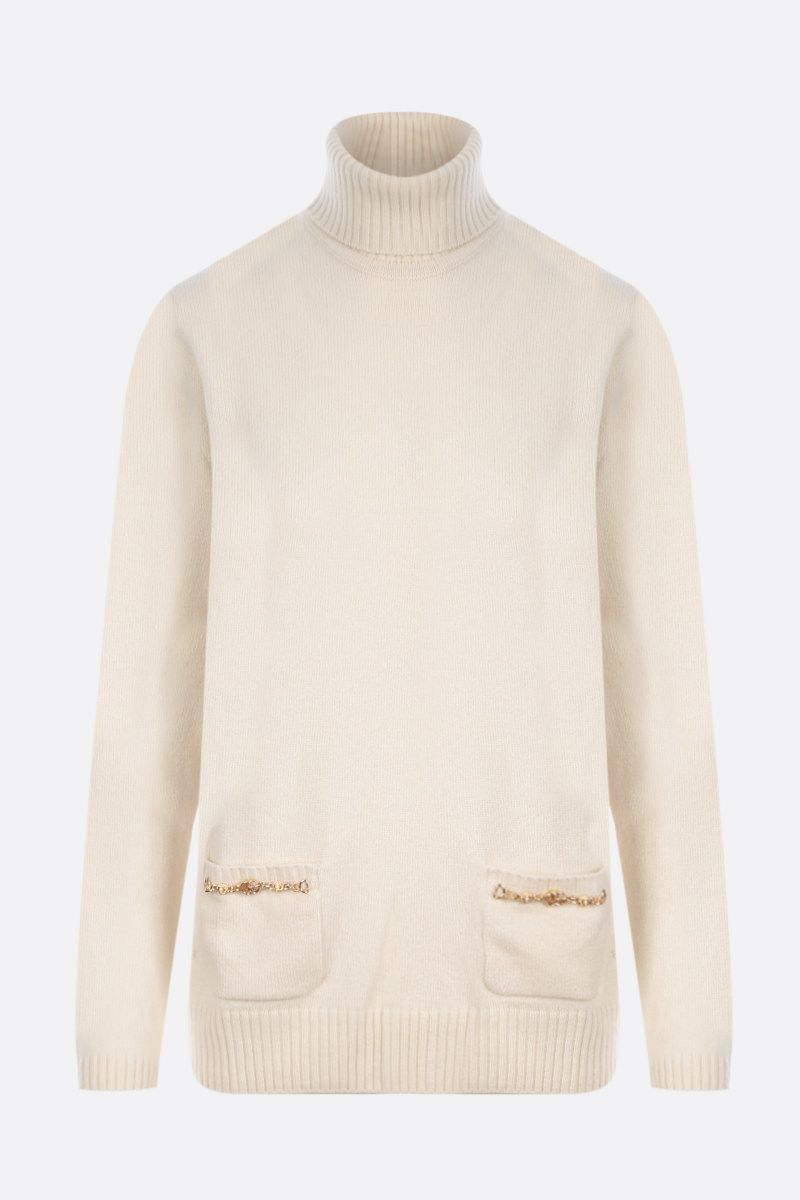 GUCCI: Double G-detailed wool turtleneck Color White_1
