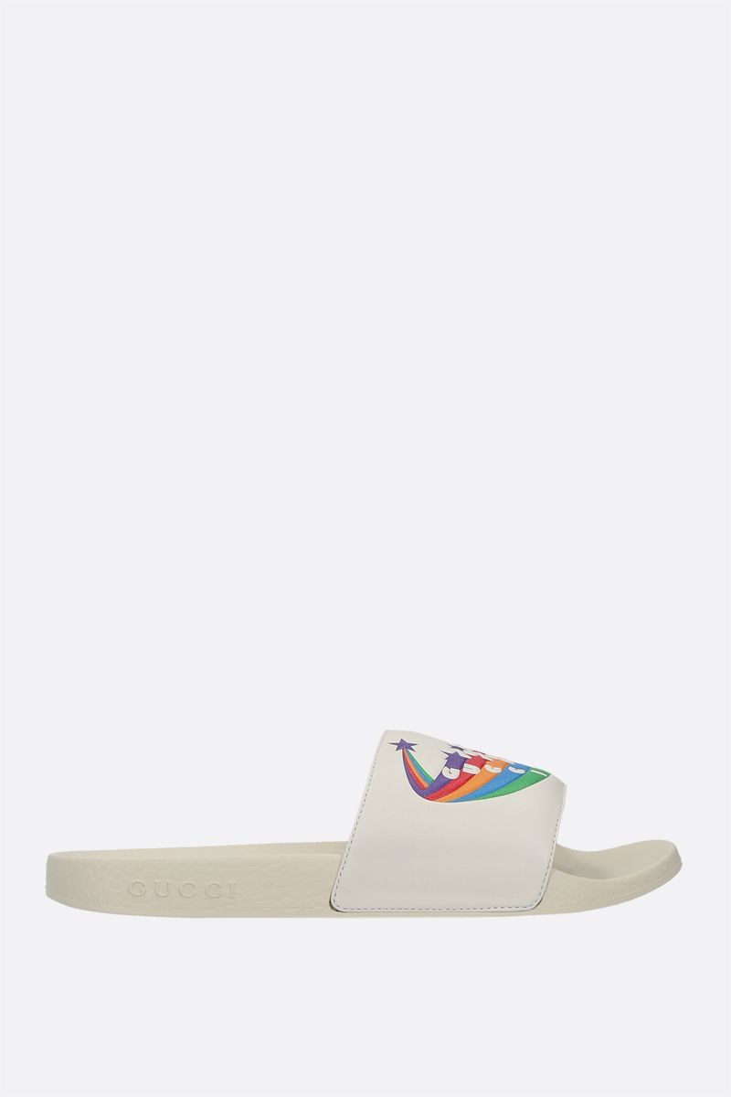 GUCCI: smooth leather and rubber slide sandals Color White_1