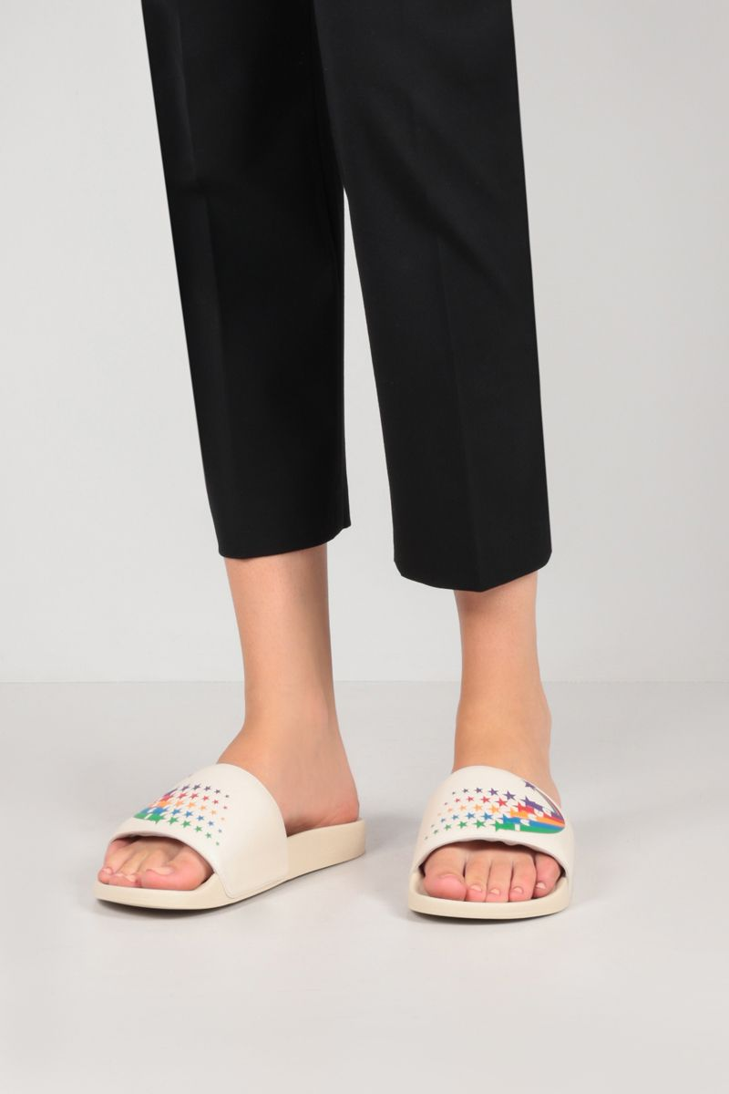 GUCCI: smooth leather and rubber slide sandals Color White_2