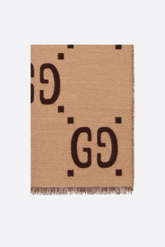 GUCCI: GG wool silk blend scarf Color Brown_1