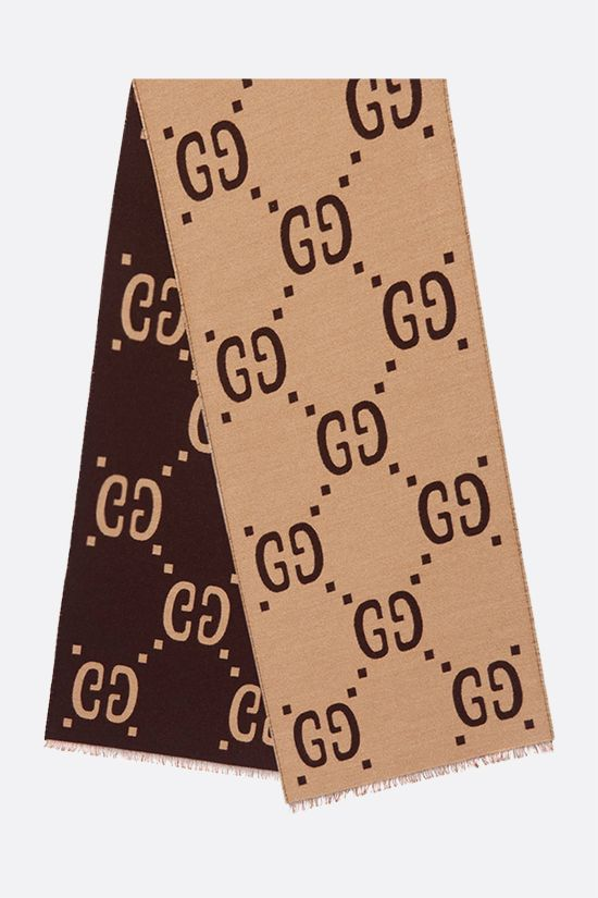 GUCCI: GG wool silk blend scarf Color Brown_2