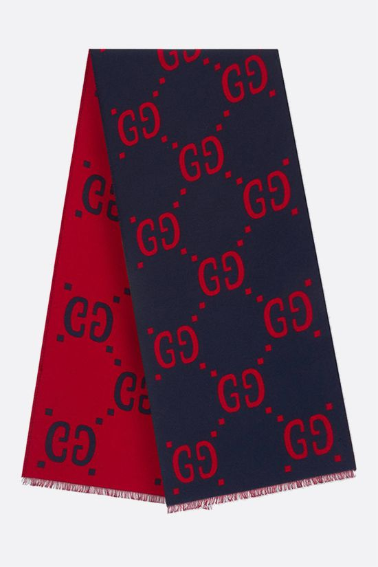 GUCCI: GG wool silk blend scarf Color Blue_2
