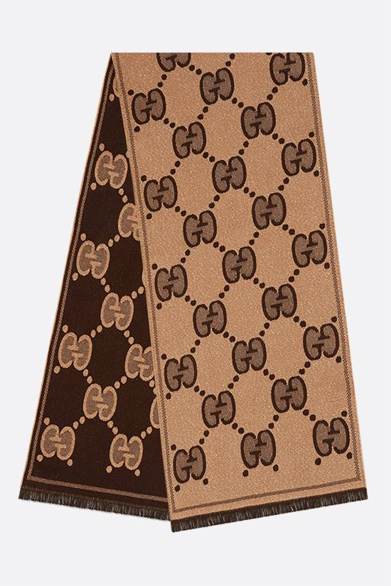 GUCCI: GG wool jacquard scarf Color Brown_2