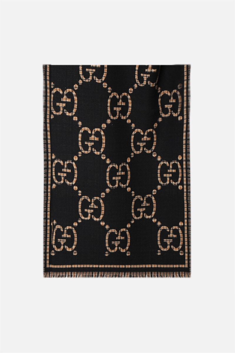 GUCCI: GG wool scarf Color Black_1