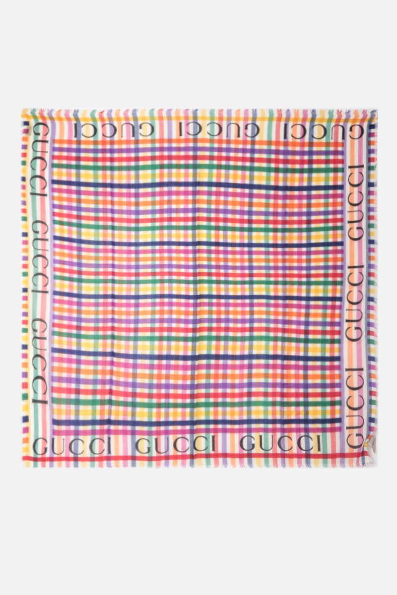 GUCCI: logo-detailed striped wool scarf Color White_2