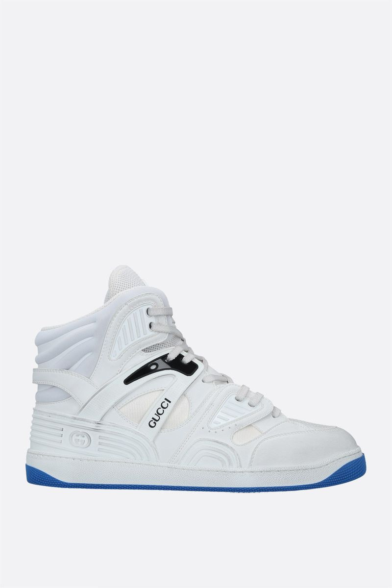 GUCCI: Gucci Basket high-top sneakers in Demetra faux leather Color White_1