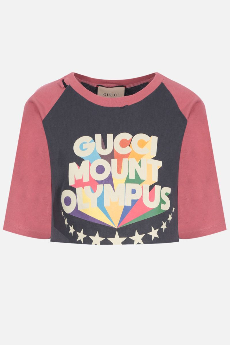 GUCCI: Gucci Mount Olympus print cropped cotton t-shirt Color Grey_1