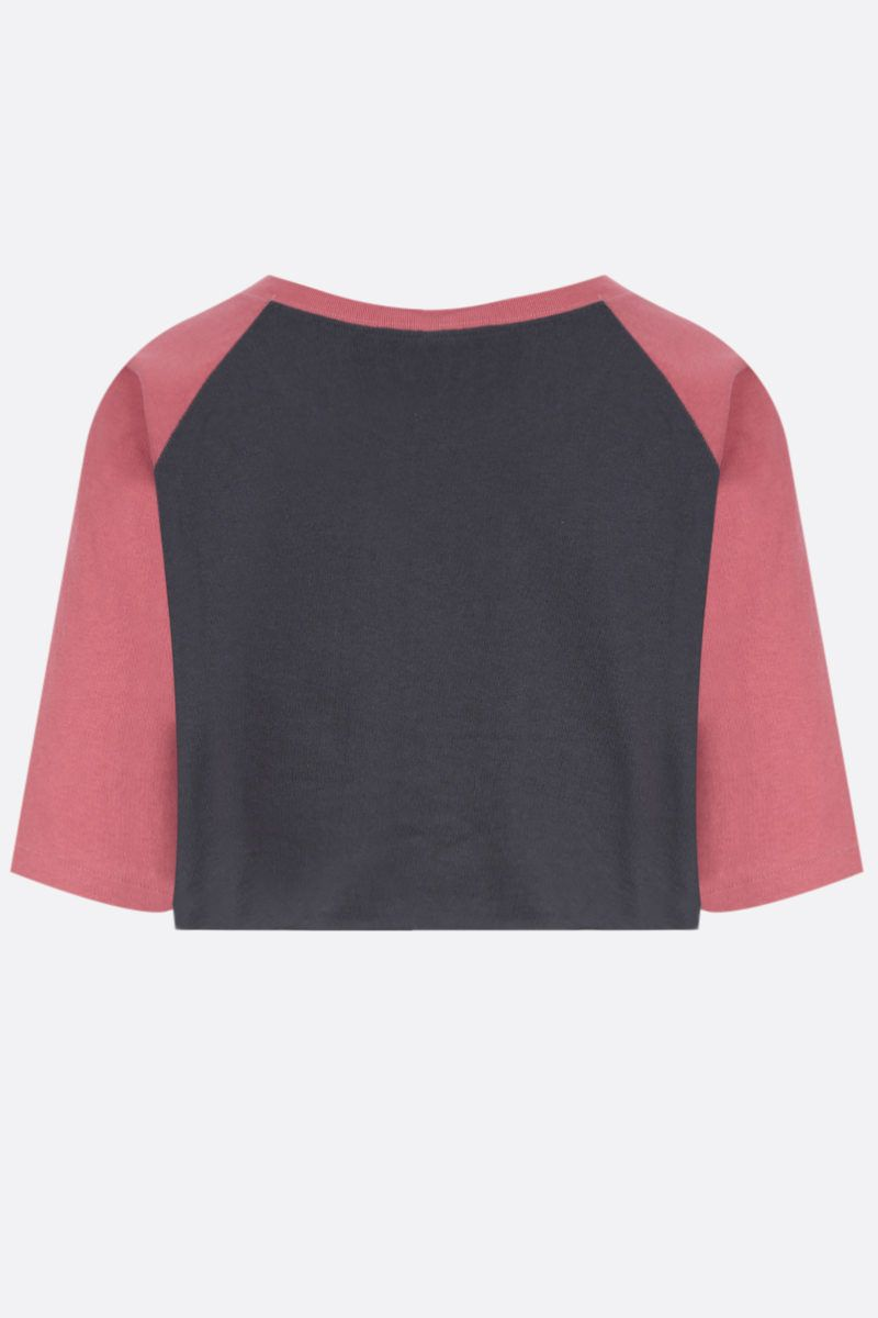 GUCCI: Gucci Mount Olympus print cropped cotton t-shirt Color Grey_2