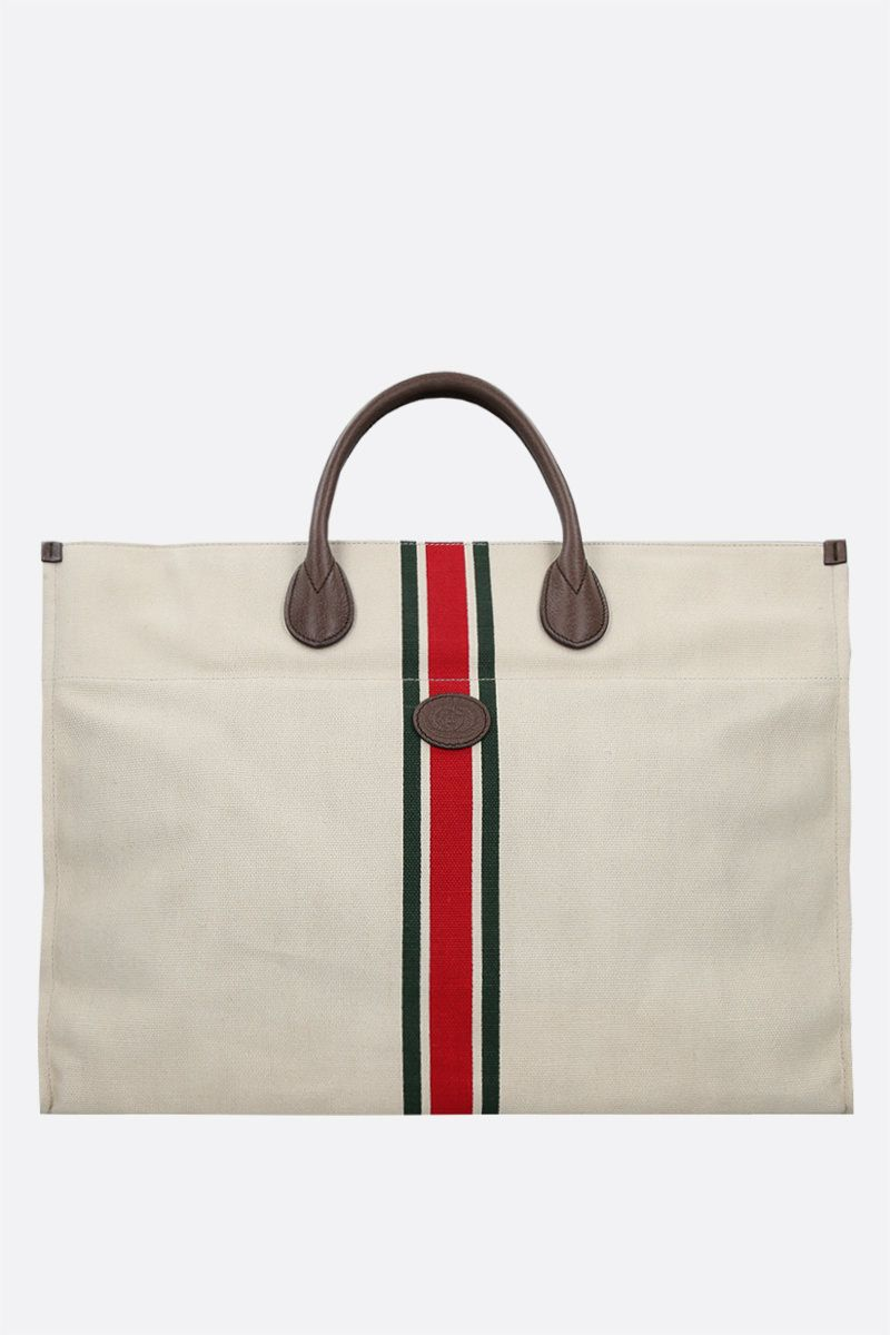 GUCCI: canvas and grainy leather shopping bag Color Multicolor_1