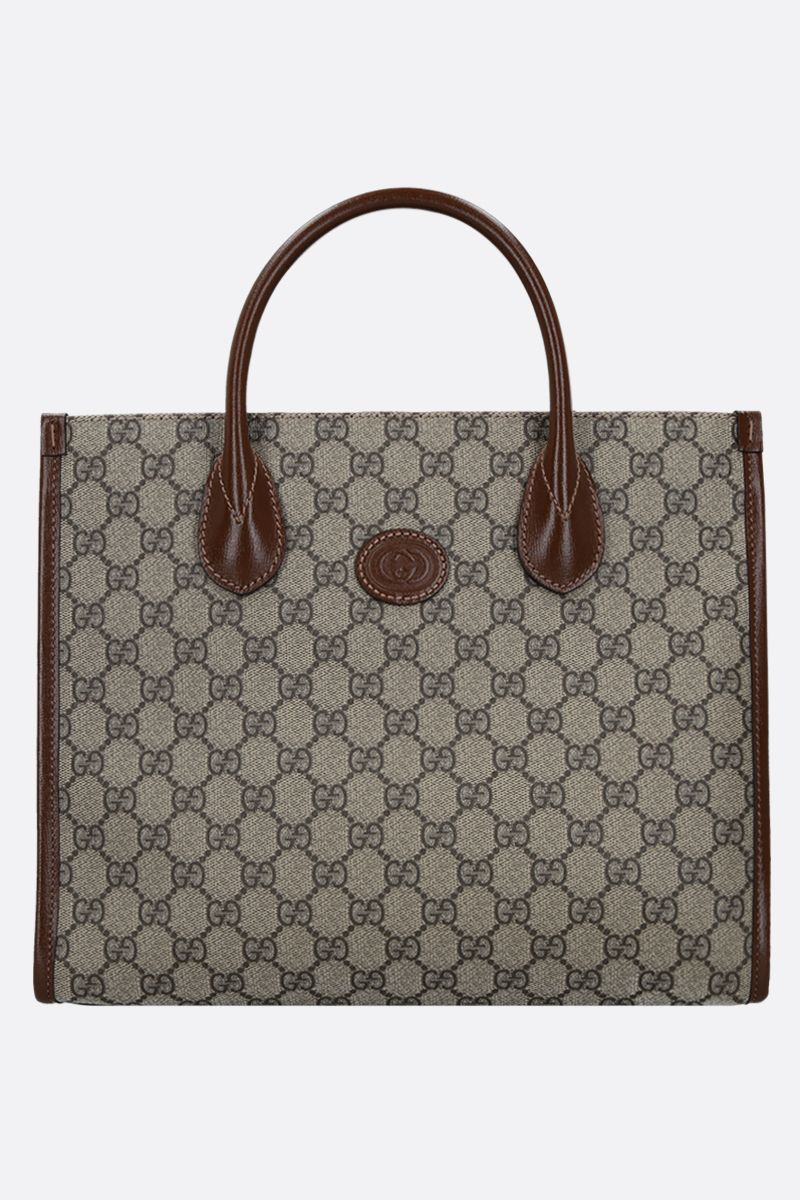 GUCCI: GG Supreme canvas and textured leather shopping bag Color Brown_1