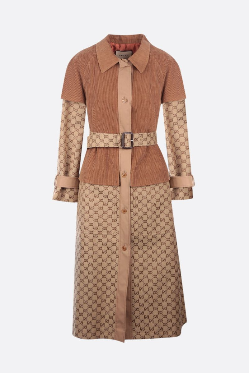GUCCI: trench coat in Original GG fabric and corduroy Color Neutral_1