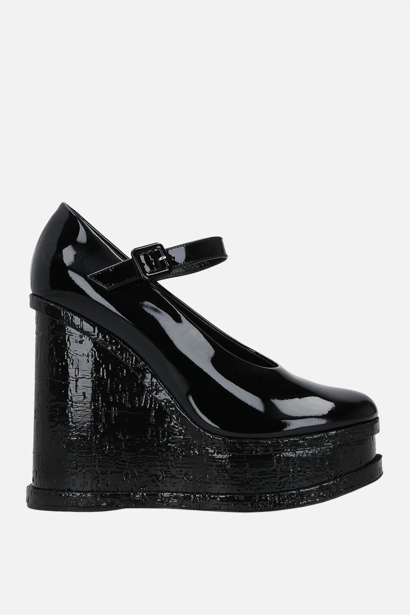 HAUS OF HONEY: Lacquer Doll patent leather wedge pumps Color Black_1