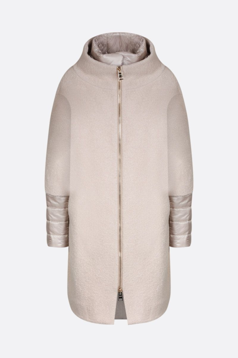 HERNO: bouclè coat with nylon inserts Color Neutral_1