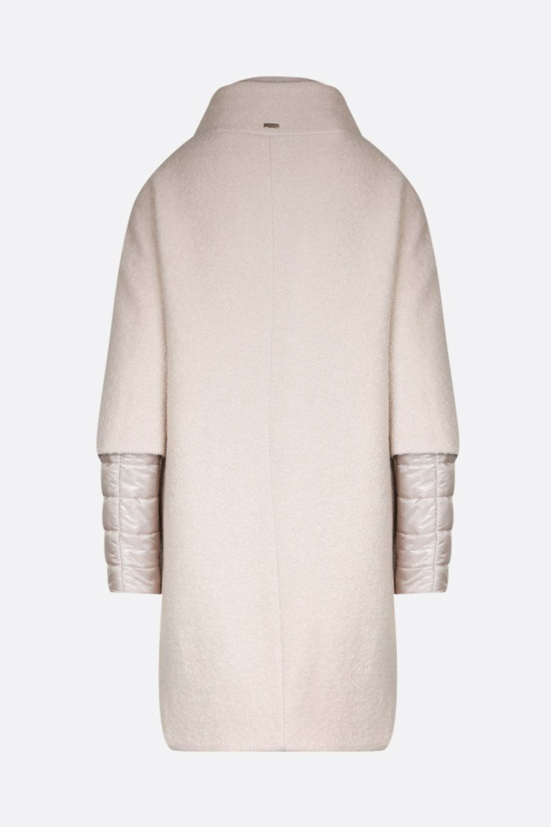 HERNO: bouclè coat with nylon inserts Color Neutral_2