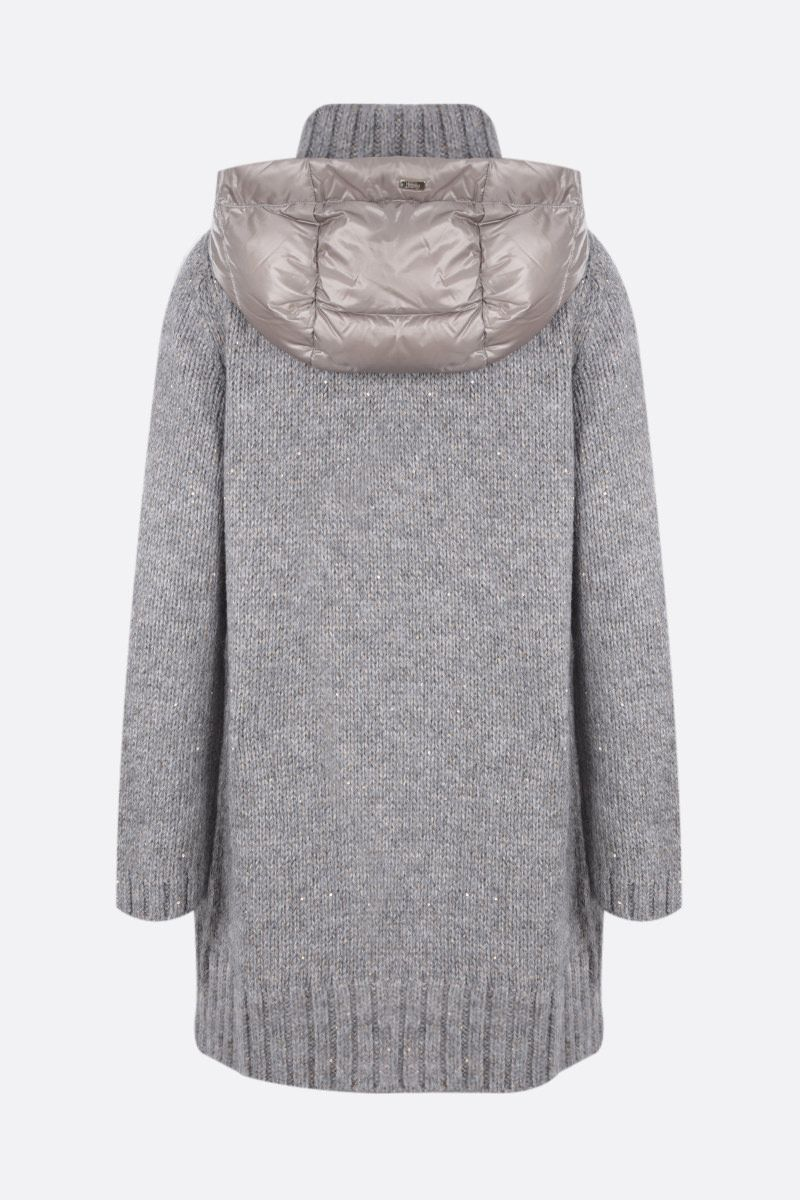 HERNO: full-zip knit jacket with down insert Color Grey_2