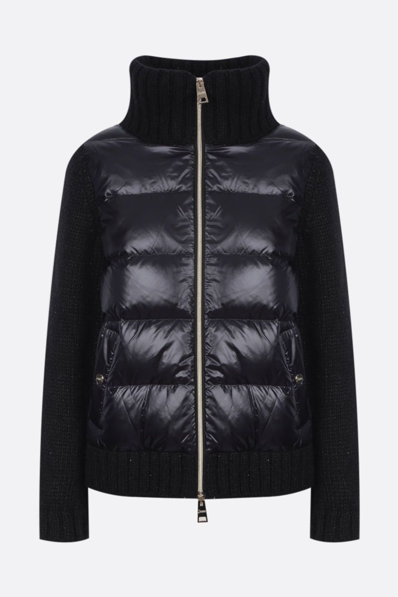HERNO: full-zip knit jacket with down insert Color Black_1