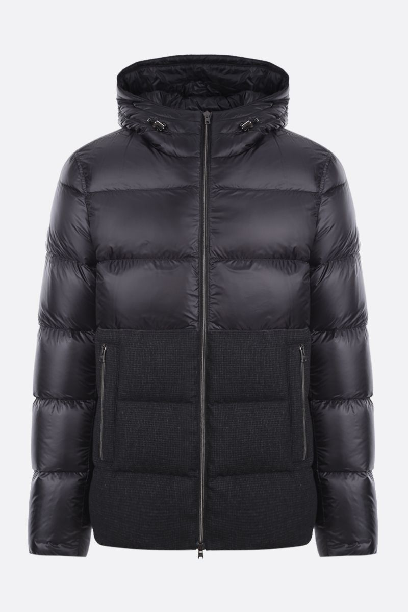 HERNO: nylon and technical wool down jacket Color Black_1
