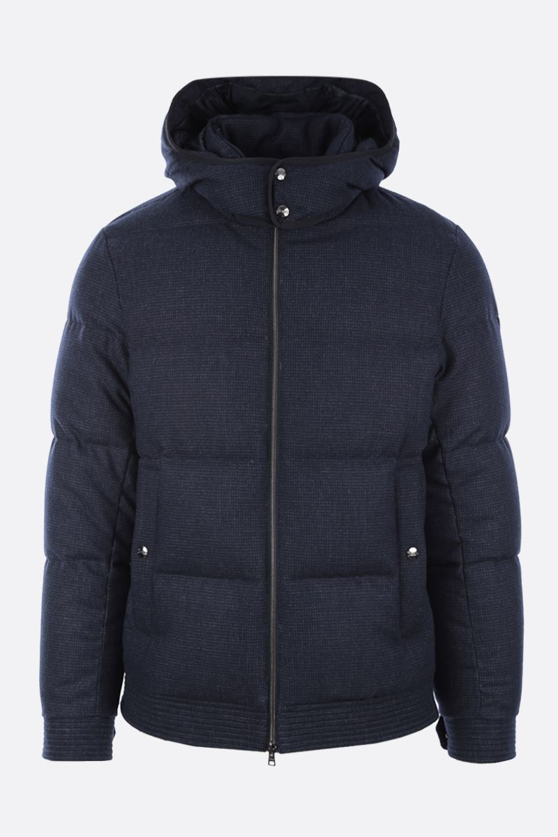 HERNO: check technical wool down jacket Color Blue_1