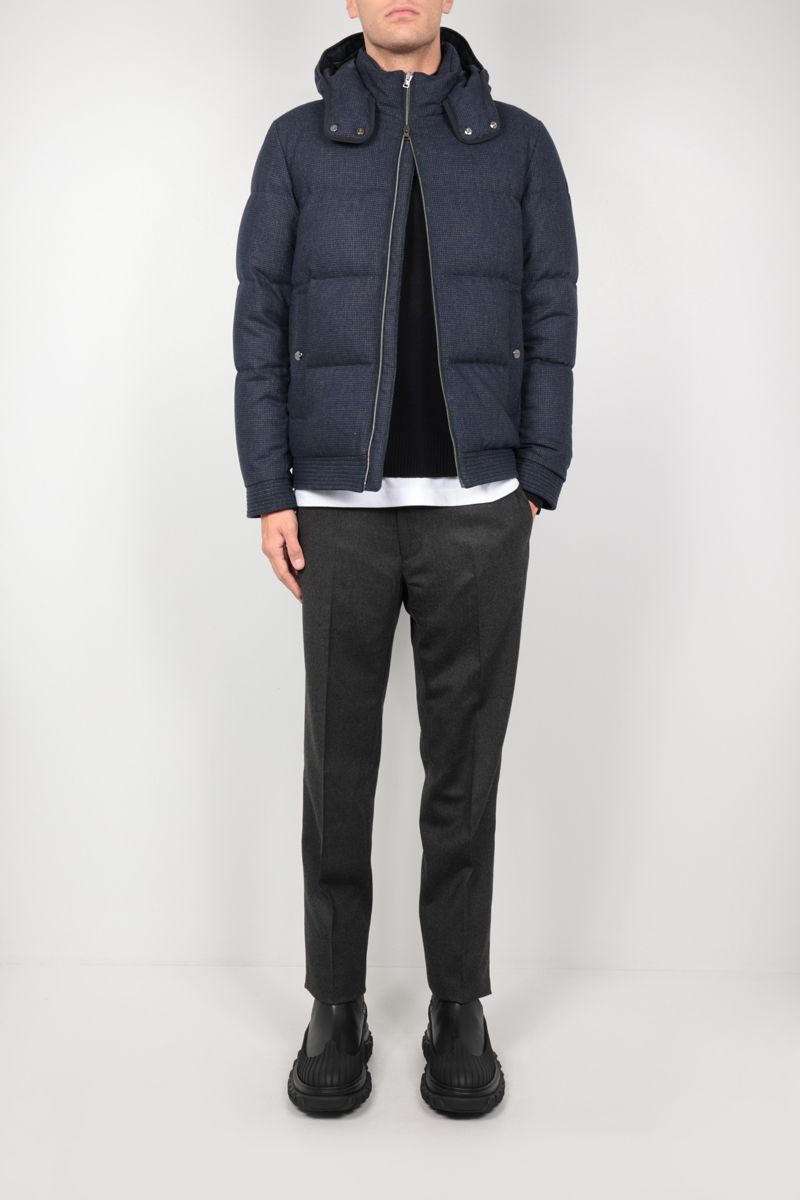 HERNO: check technical wool down jacket Color Blue_2