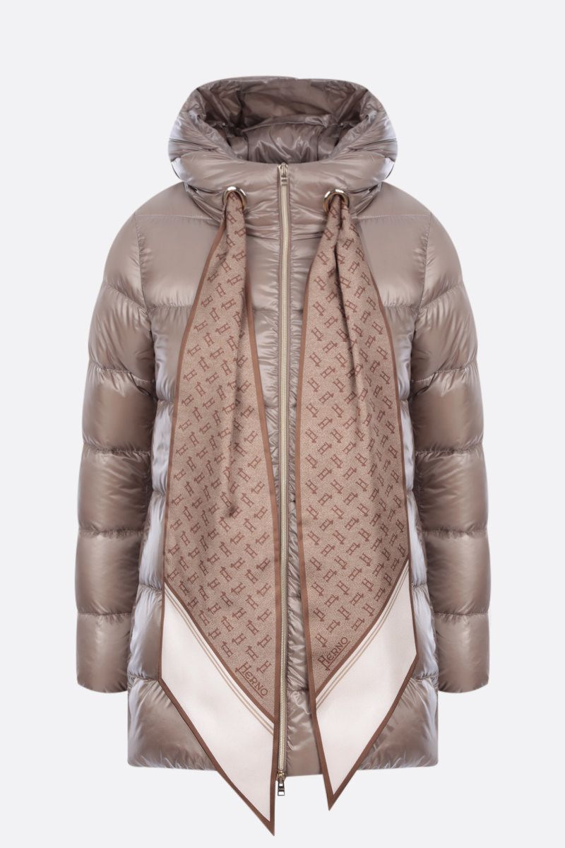 HERNO: foulard-detailed ultralight nylon down jacket Color Brown_1