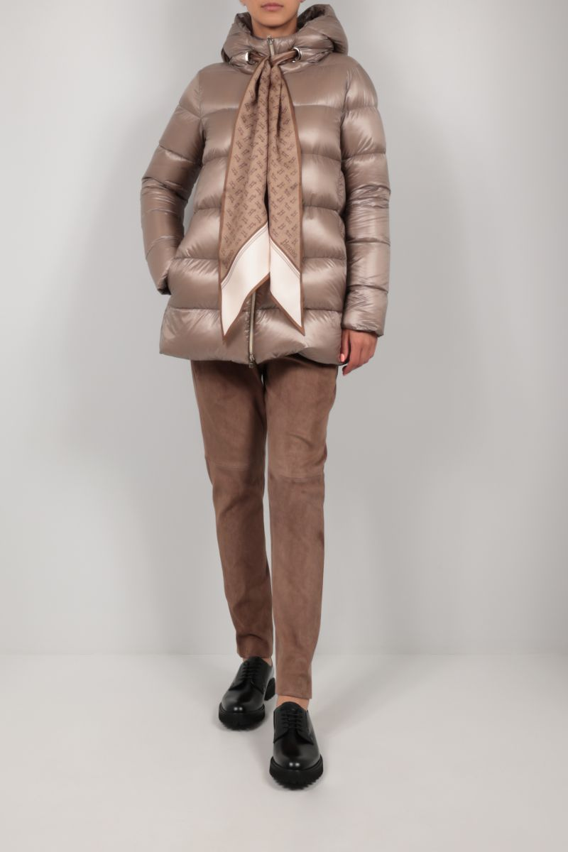 HERNO: foulard-detailed ultralight nylon down jacket Color Brown_2