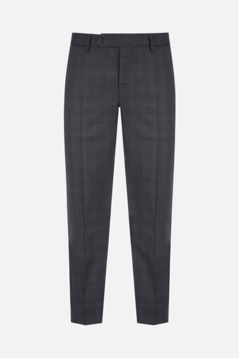 INCOTEX: slim-fit check technical wool pants Color Grey_1
