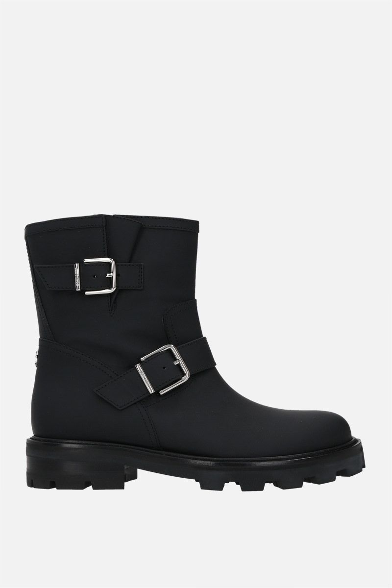 JIMMY CHOO: Youth II rubberized leather combat boots Color Black_1