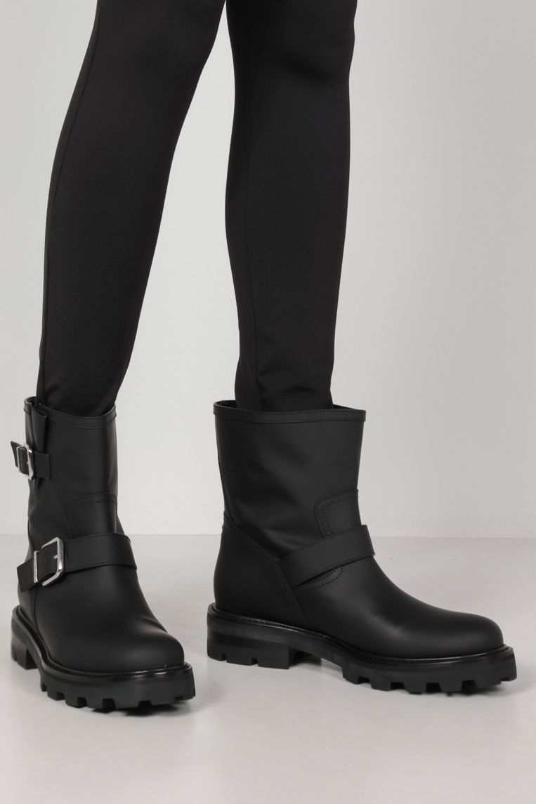 JIMMY CHOO: Youth II rubberized leather combat boots Color Black_2